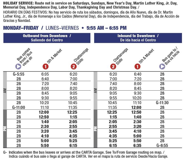 Rt 28 Amnicola Hwy schedule