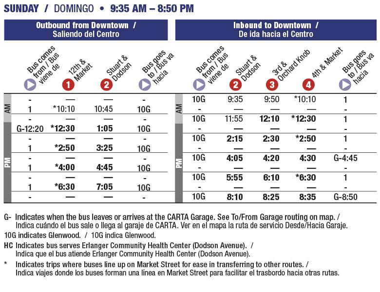 Rt 10 Avondale Sunday schedule