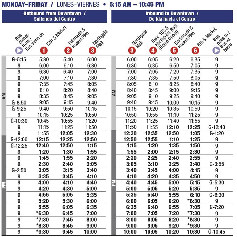 Rt 16 Northgate Mon-Fri schedule