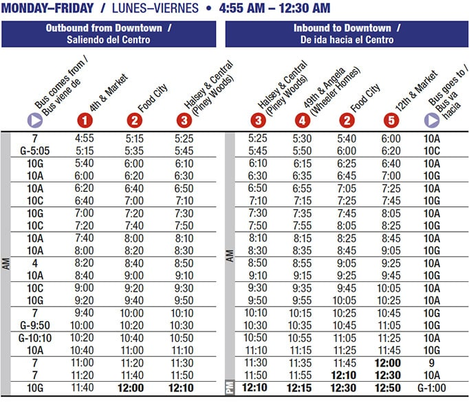 Route 1 time table
