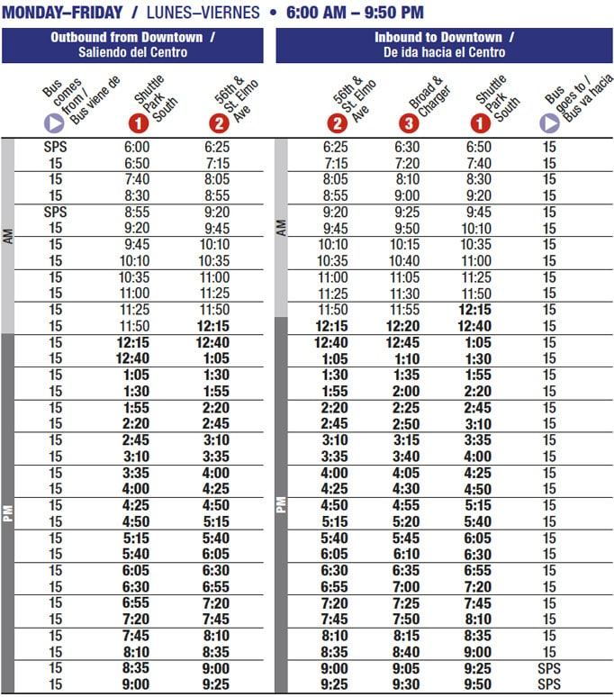 Route 15 time table