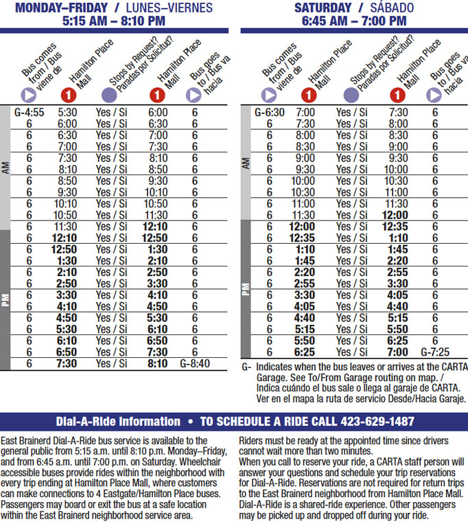 Route 6 timetable
