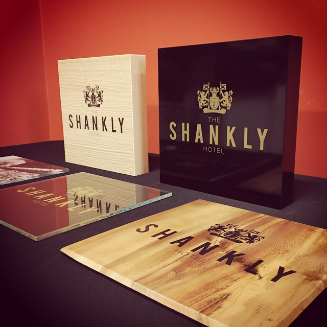 Test print samples on a range of substrates for @signatureliving latest project the Shankly Hotel