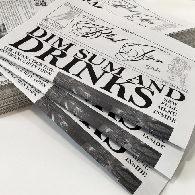Newspaper style menus printed on 80gsm recycled paper for @blindtigerlpool