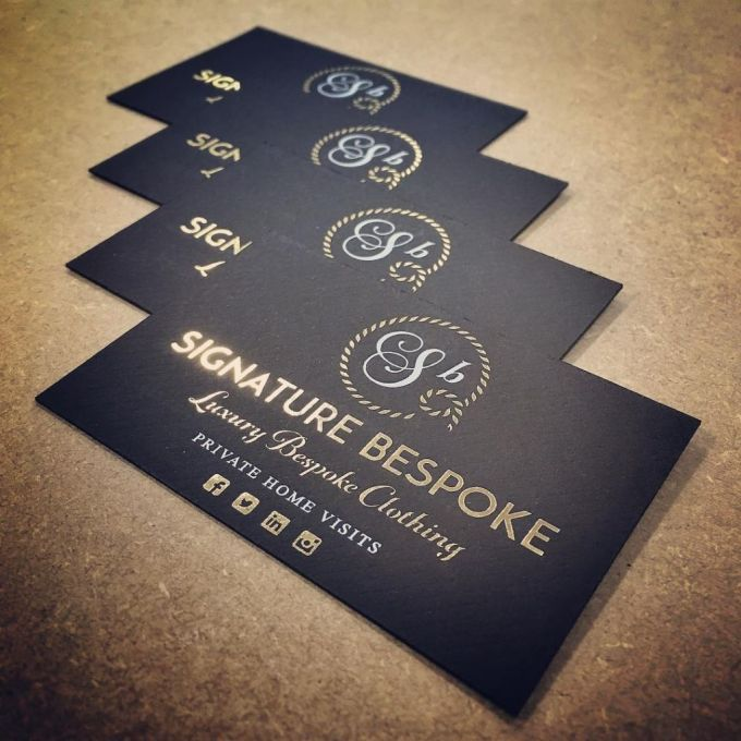 High end business cards printed for @signature_bespoke #gold #whiteink #embossed