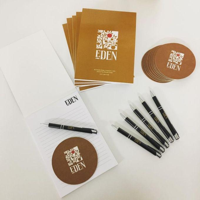 Branded Pens, Pads & Coasters for #EDEN @shanklyhotel @signatureliving