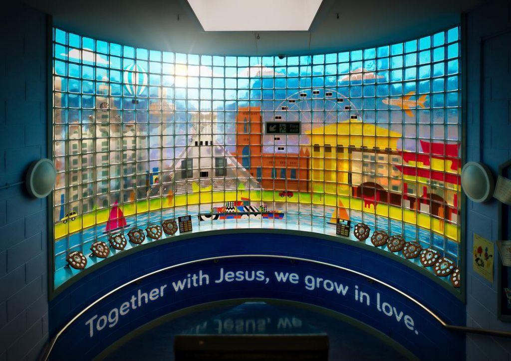 Glass block transparent vinyl prints for Holy Family Catholic Primary School #glassblock #hplatex