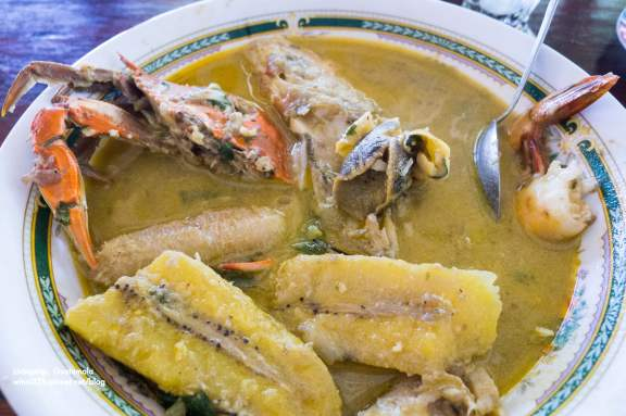 Tapado is coconut based, and has a mix of fish, crab, shrimp, and plantains.
