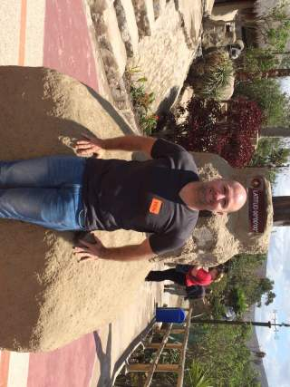 Your Truly Sporting a Handsome Name Tag on the Equator (photo by The Mad Fientist)