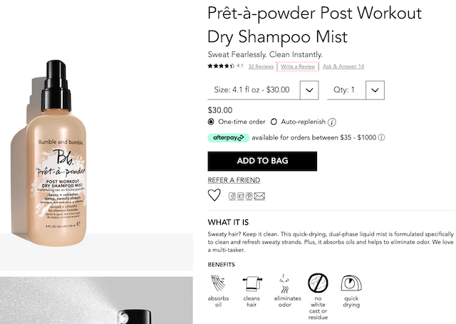 Bumble and Bumble product description for dry shampoo mist