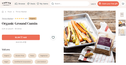 Thrive Market product description for spices