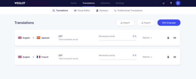 Screenshot of translations in WeGlot for international SEO