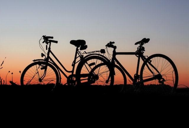 bikes against a sunset at dusk