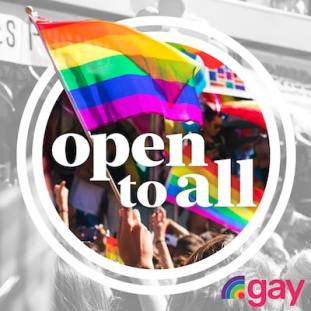 Open to All .gay pride flag
