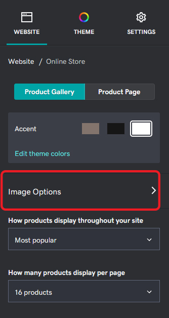 Product Gallery Image Options