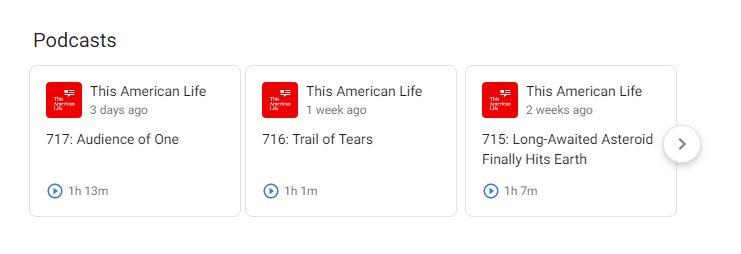 Screenshot of Google search rich results for podcast episodes