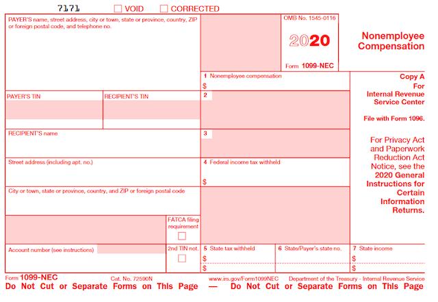 1099-NEC form 2020