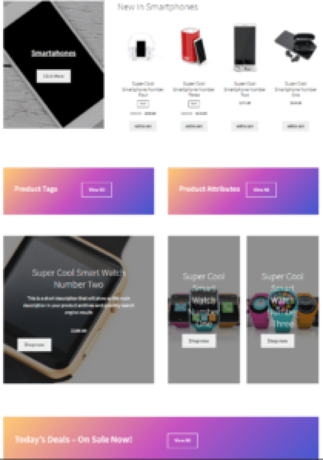 Create WooCommerce Pages Sections
