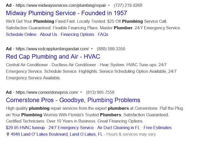 Second screenshot of plumbing Google Search