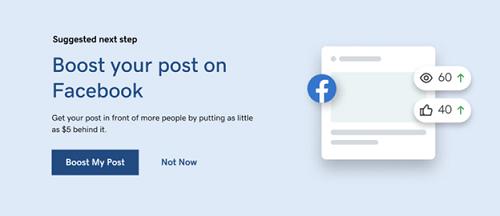 Post boost option inside Websites + Marketing