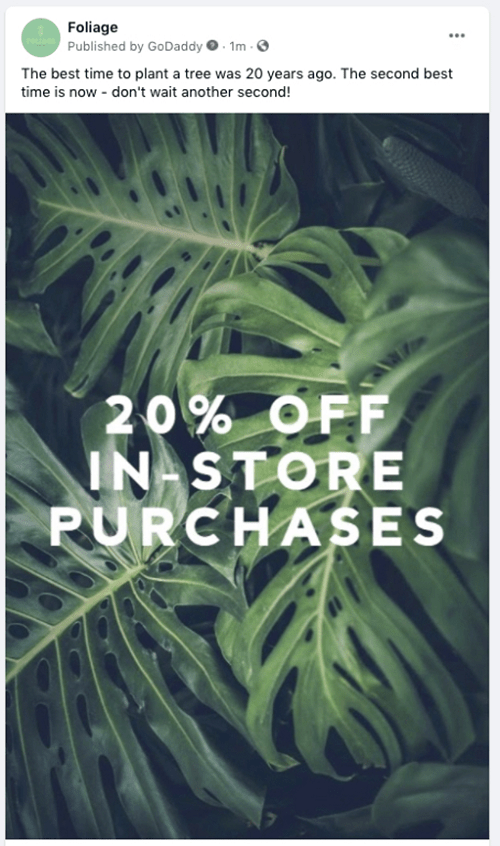 Example of a plant sale announcement boosted on Facebook