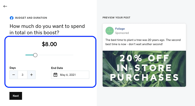 Ad spend options for boosted posts