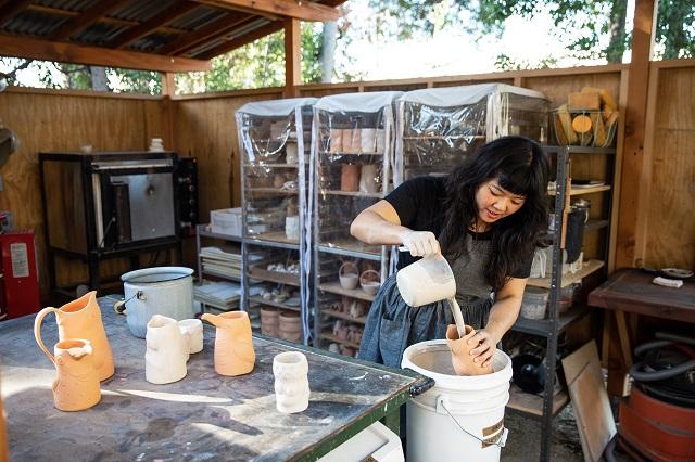 Linda Hsiao working in her studio