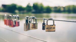 Locks along a riverfront