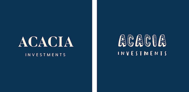 Acacia in two different fonts on navy background