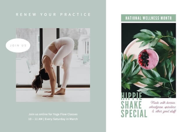 GoDaddy Studio template ads for national wellness month