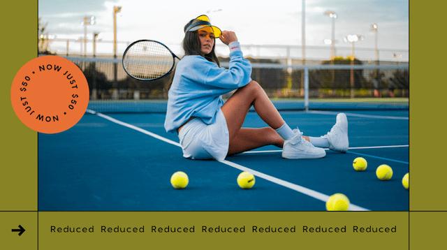 GoDaddy Studio template woman on tennis court with tennis racket