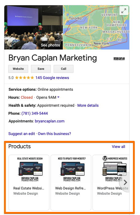 Example of a Google business search