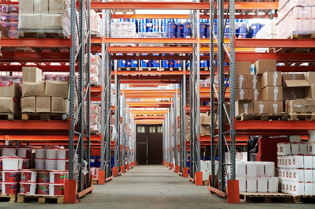 Warehouse with numerous shelves of products