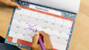 writing in a calendar