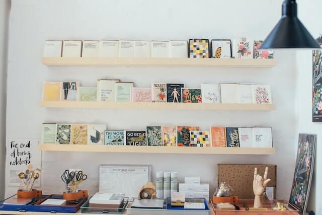 Shelf with stationary on display