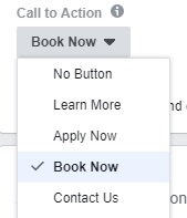 Facebook Screenshot Of Call To Action Options