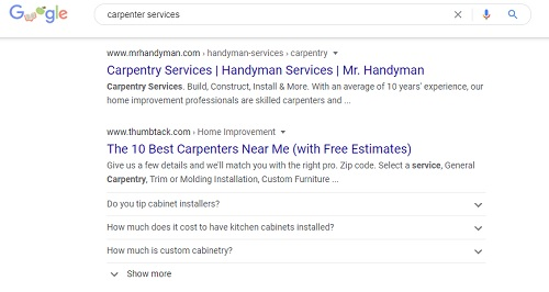 Example Of Carpenter Company Search Results On Google