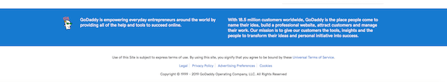 GoDaddy Blog Page Footer Example