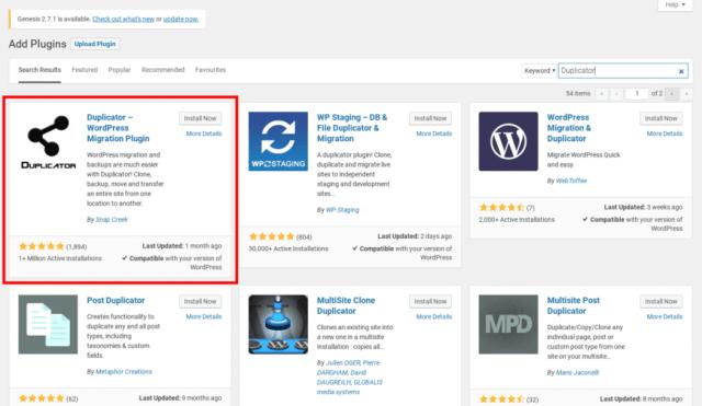 The Duplicator plugin for WordPress