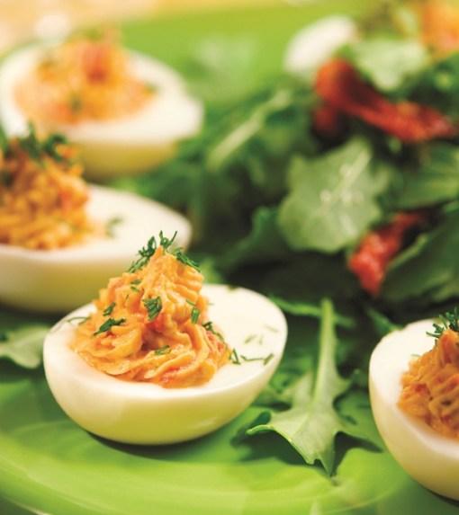 Hummus-Loaded Gluten-Free No-Mayo Deviled Eggs