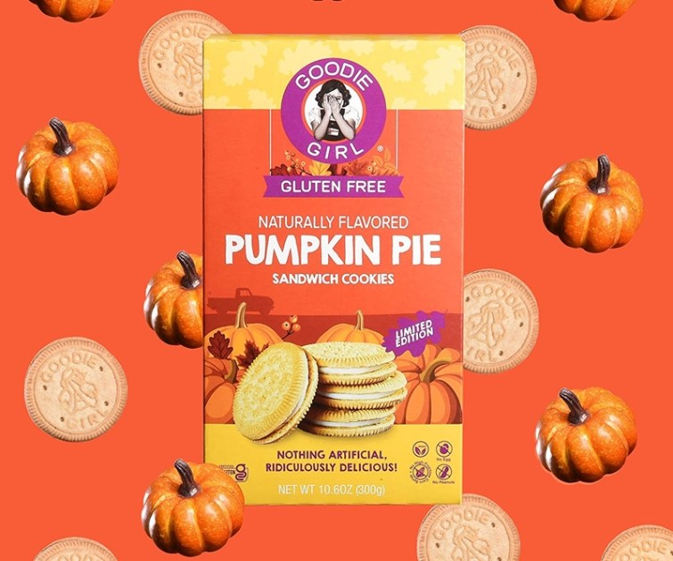 50 Dairy-Free Pumpkin Spice Sweets, Snacks, and More! Pictured: Goodie Girl Pumpkin Pie Sandwich Cookies