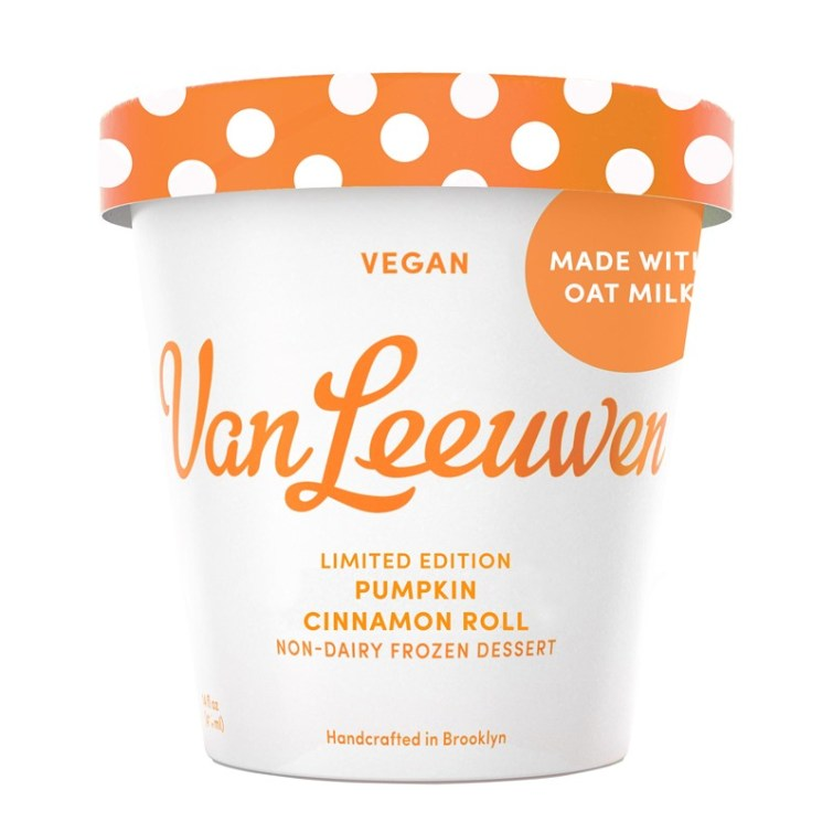 50 Dairy-Free Pumpkin Spice Sweets, Snacks, and More! Pictured: Van Leeuwen Pumpkin Cinnamon Roll Oat Milk Ice Cream