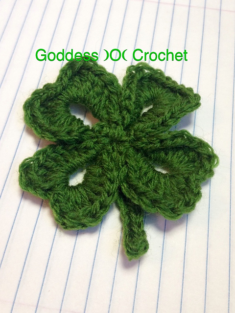 Free Crochet Pattern - Four Leaf Clover Shamrock