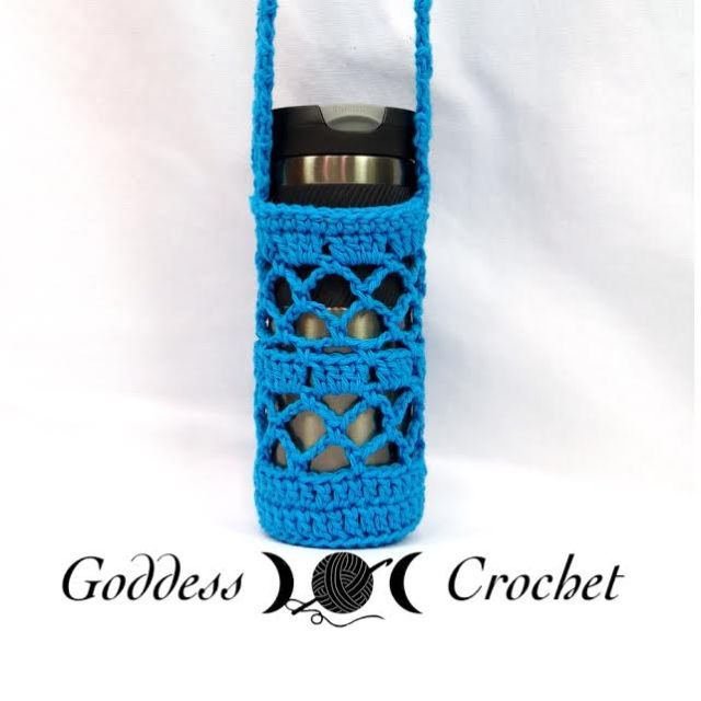 Free Crochet Pattern With Chart What A Mesh Water Bottle Holder