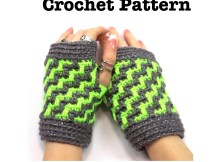 Zig Zag Wristers - Fingerless Gloves Crochet Pattern