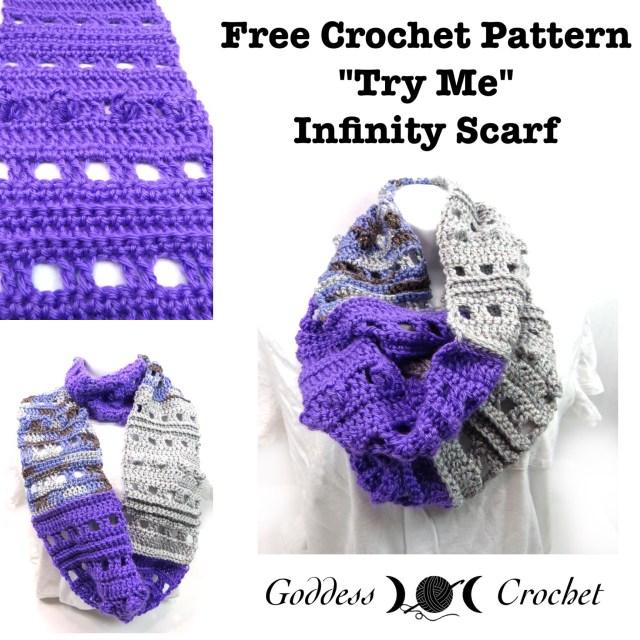 Try Me Infinity Scarf Free Crochet Pattern Goddess Crochet