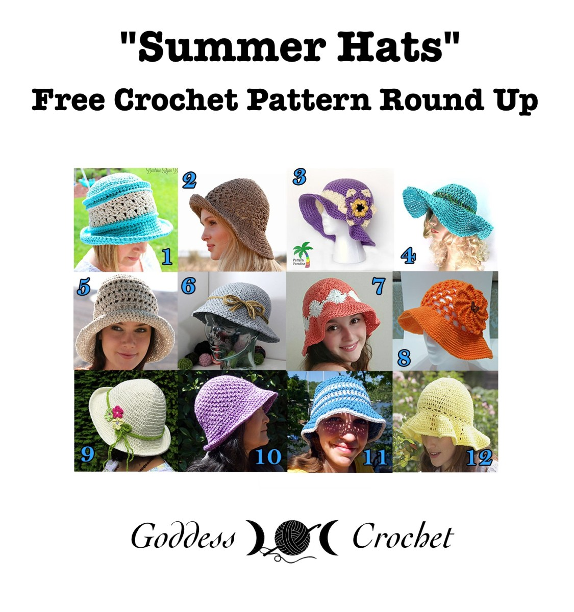 Summer Hats Free Crochet Pattern Round Up Goddess Crochet