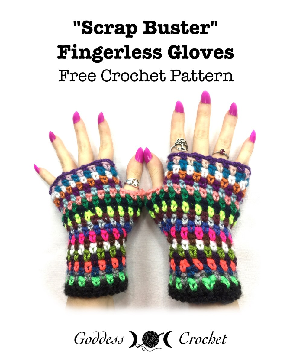 Scrap buster fingerless gloves free crochet pattern goddess crochet dt1010fo
