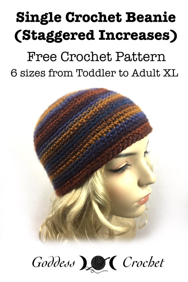 Single Crochet Beanie Staggered Increases Free Crochet Pattern