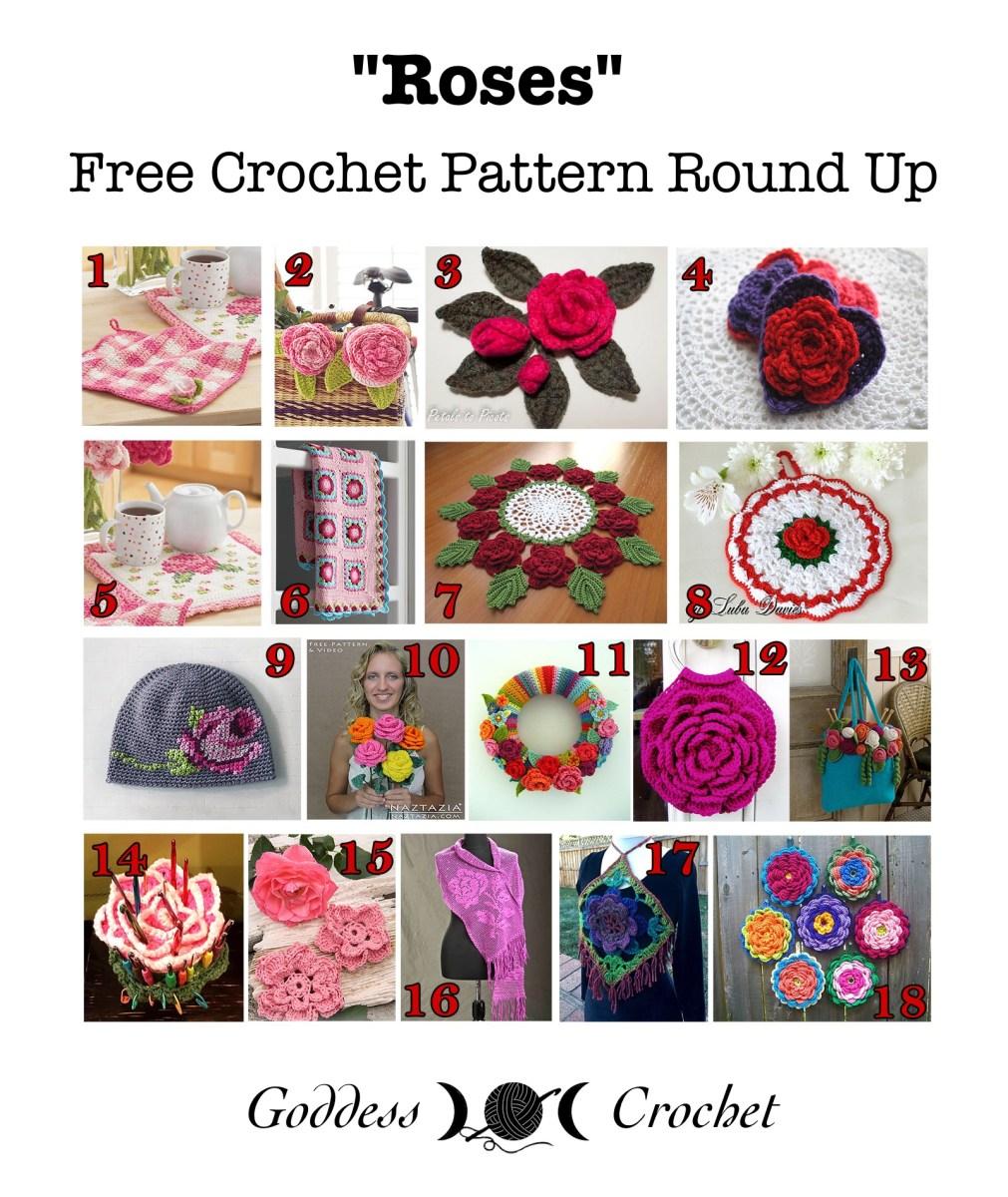 Roses Free Crochet Pattern Round Up Goddess Crochet
